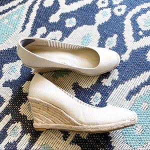 Merona Gold Linen Wedge Espradille Heels 7.5